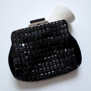 Accessorize Black Beaded Frame Faux Suede Clutch
